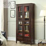 英洛 纯实木书柜带抽屉置物柜两门玻璃门酒柜环保展示架