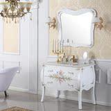 美式实木卫浴柜洁具落地浴室柜洗面洗手盆柜组合柜田园印花粉色