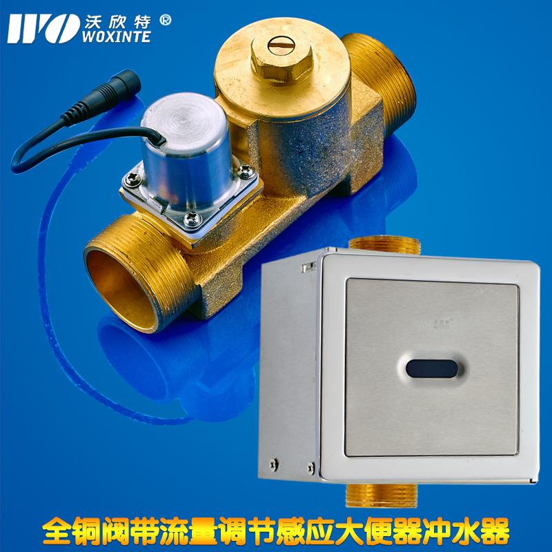 全铜全自动感应大便冲水器 蹲便器冲洗阀 暗装交直流 带水量调节商品图片