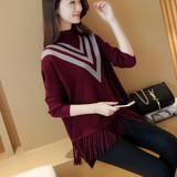2016春季女装韩版蝙蝠衫长袖半高领打底针织衫套头宽松流苏毛衣潮