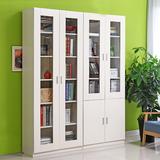 自由组合书柜实木带门简易书架儿童置物架玻璃门简约现代书房柜子
