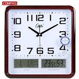 康巴丝挂钟客厅卧室办公钟表超静音日历万年历大号石英钟温湿度
