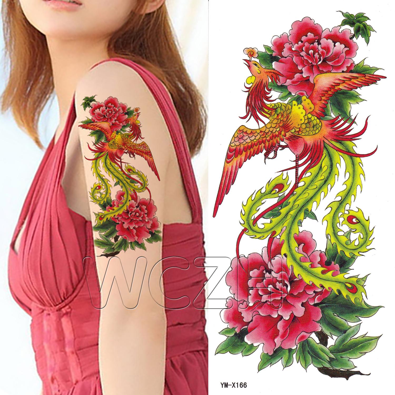 凤凰纹身贴纸防水女款牡丹花防汗持久个性遮痕刺青纹身贴商品图片价格