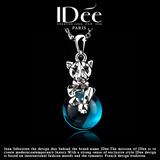 法国IDee豹子项链女 夸张蓝宝石水晶吊坠 配饰创意生日礼物