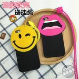韩国笑脸iphone5/6s/6plus情侣硅胶嘴唇4.7挂绳手机壳大眼睛防摔