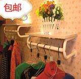 加厚铁艺女装童装服装货架服装店衣架展示架上墙侧挂壁挂衣服架子