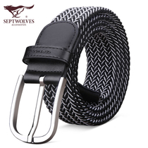 Seven wolves men's belt canvas woven pants belt female casual belt male needle buckle young students tide