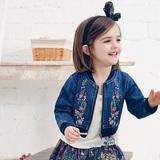 裂帛童装2016春装新款水洗牛仔外套绣花拉链针织罗纹上衣女捧球衫