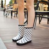 日韩款时尚雨靴 女 中筒防滑雨鞋 女 韩版水鞋 女士雨鞋 中筒胶鞋