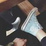 环球高帮帆布鞋女学生鞋韩版平底黑色经典女板鞋休闲鞋女平跟春季
