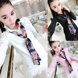 2016春季新款韩版衬衫女装中长款拼接蕾丝修身打底衫长袖上衣潮女