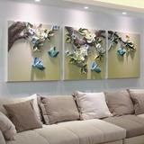 客厅立体浮雕画沙发背景墙装饰画挂画三联画现代简约时尚组合壁画