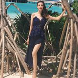 2016夏季连衣裙Self*Portrait同款海边沙滩度假裙蕾丝雪纺中长裙