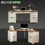 地中海转角书桌电脑桌全实木比邻写字台美式乡村田园家具定制做旧