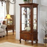 美式实木红酒柜单门玻璃展示柜 乡村复古门厅柜 欧式酒柜小餐边柜