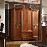 美式乡村实木大衣柜欧式推拉门衣橱胡桃木烤漆四门衣柜卧室家具