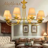 美式吊灯全铜灯客厅乡村田园布艺餐厅灯具北欧现代简约纯铜灯