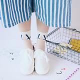 复古 日系衬衫领口女士袜子创意透明绣花可爱薄款水晶袜 玻璃丝袜