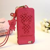 韩版皮纹苹果6手机壳4.7 iPhone5s小熊红色 6splus带挂绳脖女款新
