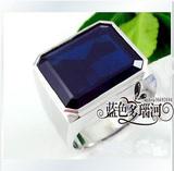 矿区直销18K白金极品天然AAA级蓝宝石男士戒指板戒尽显贵族气质