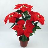 仿真花卉落地摆放绒布假花圣诞新年花束 7头一品红一片红万年红
