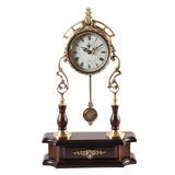 欧式静音纯铜台式座钟台钟客厅仿古摆钟创意时钟卧室实木钟表摆件
