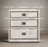 美式乡村复古皮箱铜钉软包超纤皮铆钉高级床头柜边几三抽储物箱