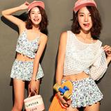 韩国游泳衣女分体裙式比基尼小胸聚拢罩衫三件套保守遮肚温泉泳装