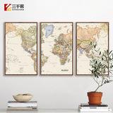 三联世界地图挂画客厅书房壁画办公室装饰画英文worldmap风景