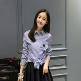 简约时尚2016秋季新品气质女纯棉立体花翻领长袖条纹女衬衣上衣潮