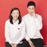 结婚登记照相情侣装男女证件照拍照纯棉衬衫长袖白色红心领证衬衣