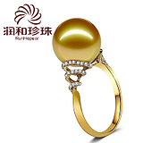 润和珠宝 冰海 11-12mm18K金 金珠戒指 天然海水珠正品【可定制】