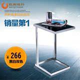 简约现代钢化玻璃茶几 小户型方形创意移动床边桌沙发边几角几