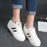 人本夏季韩版休闲板鞋运动鞋内增高帆布鞋女松糕厚底情侣款女鞋潮