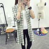 蒂尼尔菲韩版新款宽松中长款修身衬衫气质格子百搭女士长袖衬衣