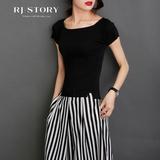 夏季纯黑色T恤女秋修身一字领打底上衣纯白色紧身针织冰丝衫短袖