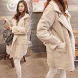 秋冬新款韩版宽松羊羔毛外套女中长款鹿皮绒大衣