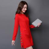 秋冬季新款韩版开叉中长款毛衣女套头打底衫修身针织羊绒衫连衣裙