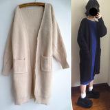 2016春季韩版宽松加长款毛衣超长廓形开衫简约风下摆开叉外套女装