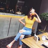 夏天家 2016春夏新款韩版百搭纯色修身显瘦短袖打底针织衫女