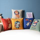 可爱童话动物棉麻靠枕抱枕套宜家腰靠办公室沙发靠垫美式方枕含芯
