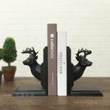 欧式美式树脂复古鹿头书立书靠书挡客厅书房创意家居装饰品摆件