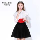 时尚印记春季新品韩版大码雪纺衫白色复古格子气质荷叶边蕾丝衫女
