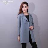 韩版新款长袖宽松手工高端双面羊绒大衣女中长款修身显瘦毛呢外套
