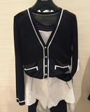 夏季短袖开衫女薄短款纯色长袖针织衫艾哥弟斯官方旗舰店女装外套