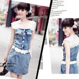 夏季甜美女装韩版蕾丝花边修身短袖薄款牛仔短裙配腰带收腰连衣裙