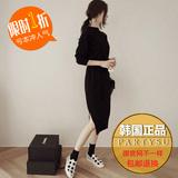 韩国专柜正品代购显瘦纯色修身收腰长袖中长款针织衫毛衣连衣裙女
