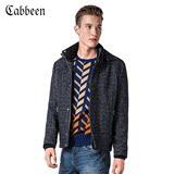 卡宾新款 可拆帽休闲针织外套男士修身针织夹克B/3144138020