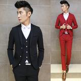 修身型长袖休闲韩版男士小西装商务秋冬正装新郎时尚套装外套西服