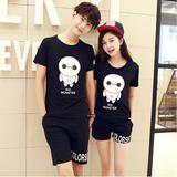 情侣装夏装2016新款韩版短袖t恤男女修身休闲运动套装学生两件套